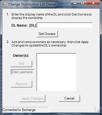 Change DL Owner screenshot